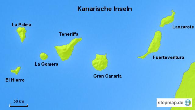 landkarte spanien mit inseln StepMap   Kanarische Insel   Landkarte für Spanien landkarte spanien mit inseln