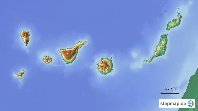 Kanaren Inseln Karte.Stepmap Kanarische Inseln Relief Landkarte Fur Spanien