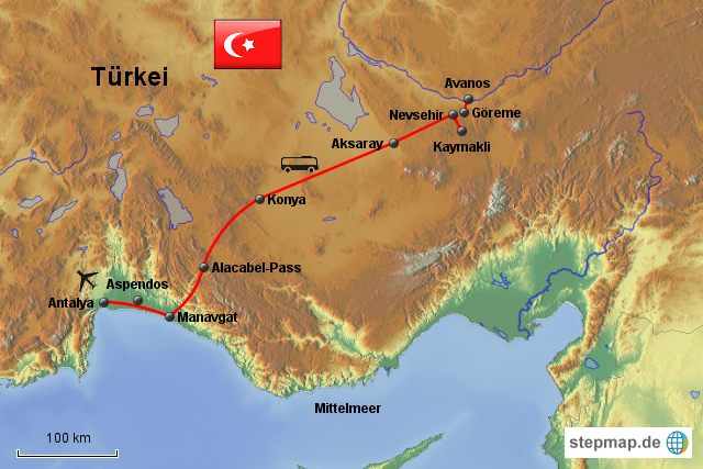Karte Türkei Kappadokien.Stepmap Kappadokien Rundreise Landkarte Für Türkei