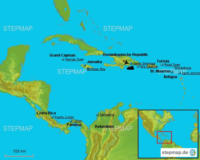 Karibik Karte.Stepmap Karibik 2016 Landkarte Für Jamaika