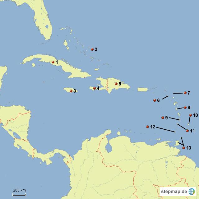 Karibik Karte.Stepmap Karibik Inseln Stumme Karte Landkarte Für Welt