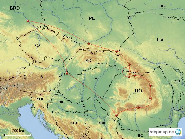 Stepmap Karpaten Tour Landkarte Fur Europa