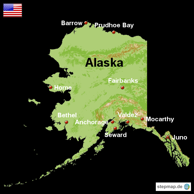Stepmap Karte Alaska Landkarte Fur Usa
