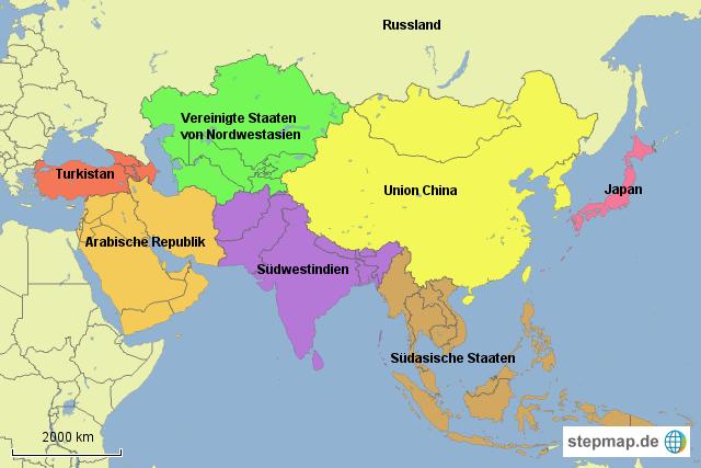 Landkarte Asien.Stepmap Karte Asien Landkarte Fur Deutschland