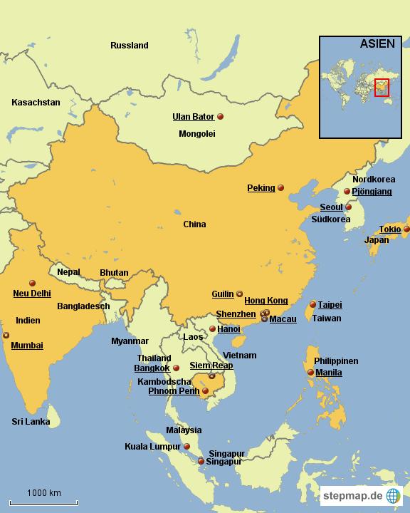 Landkarte Asien.Stepmap Karte Asien Deutsch Landkarte Fur Asien