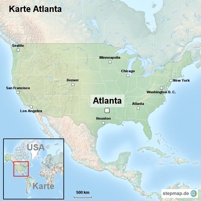 atlanta karte StepMap   Karte Atlanta   Landkarte für USA