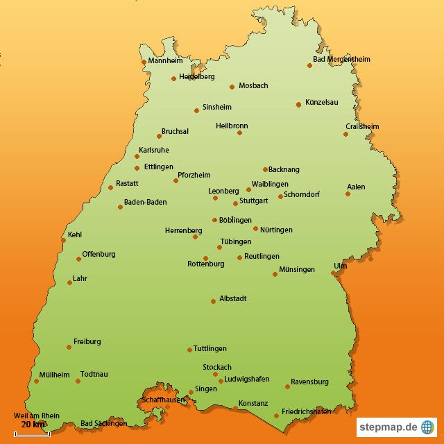 karte bw StepMap   Karte BW   Landkarte für Deutschland