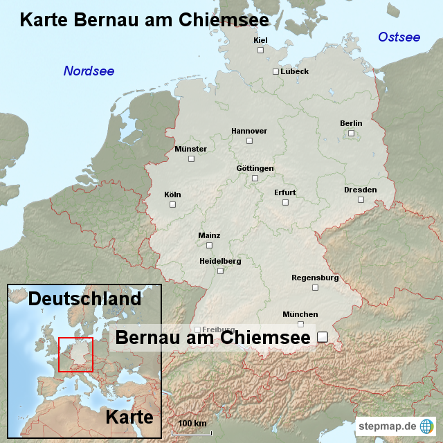 Chiemsee Karte Region.Stepmap Karte Bernau Am Chiemsee Landkarte Fur Deutschland