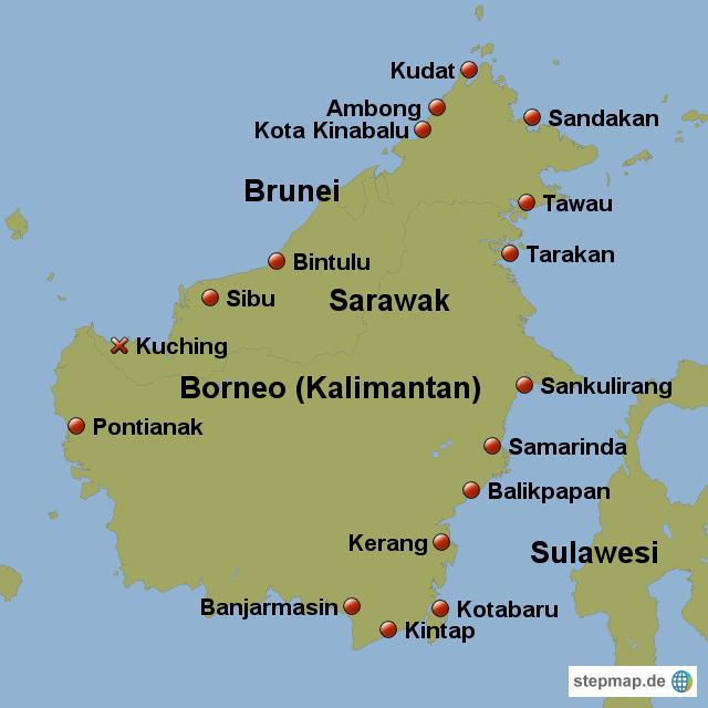 Island Borneo Map