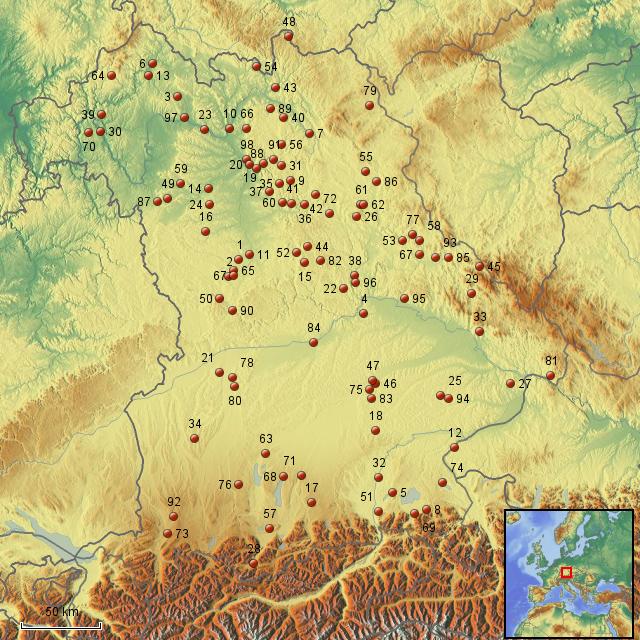 burgen deutschland karte StepMap   Karte Burgen mit Nummern   Landkarte für Deutschland
