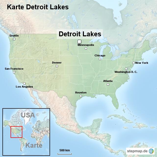 Stepmap Karte Detroit Lakes Landkarte Fur Usa