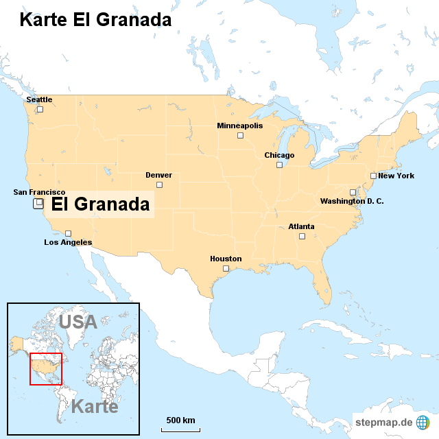 Granada Karte.Stepmap Karte El Granada Landkarte Für Usa