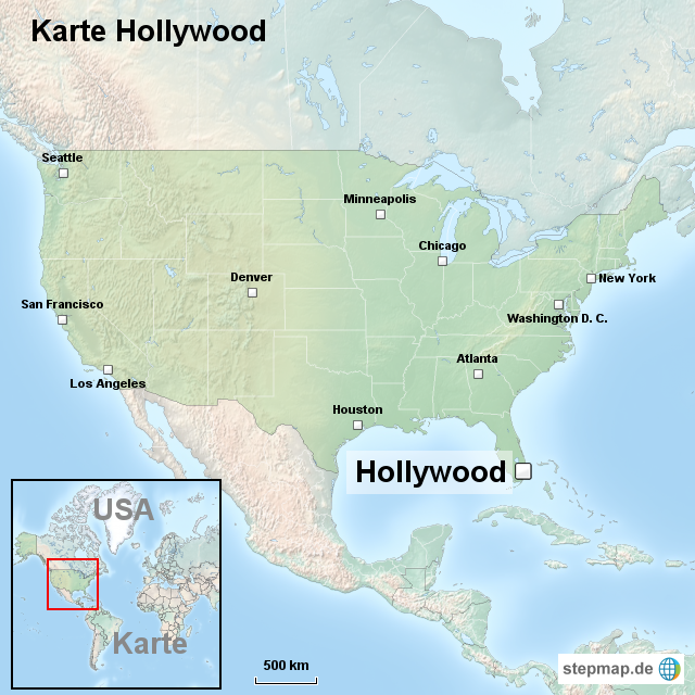 hollywood karte StepMap   Karte Hollywood   Landkarte für USA