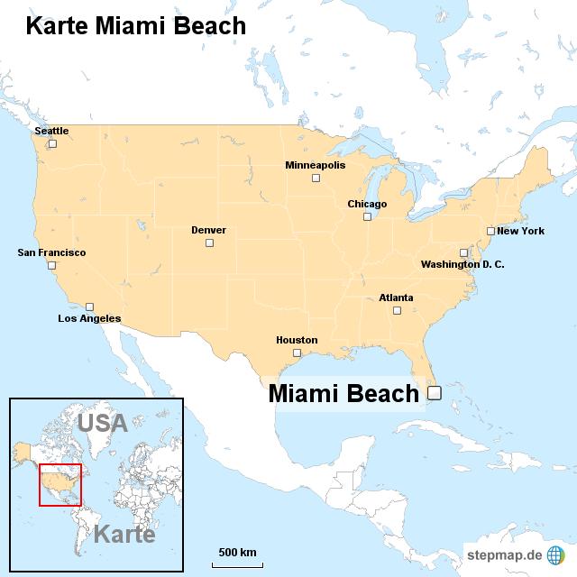 miami karte StepMap   Karte Miami Beach   Landkarte für USA miami karte