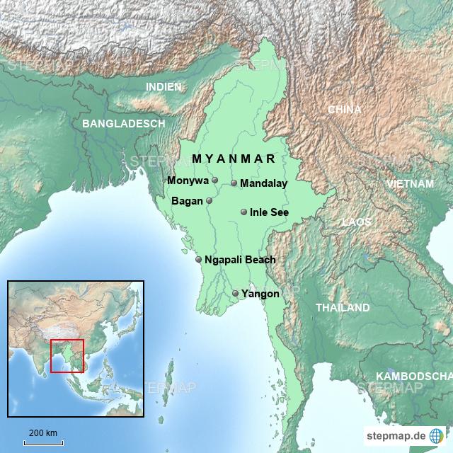 Karte Myanmar.Stepmap Karte Myanmar T3 Landkarte Für Asien