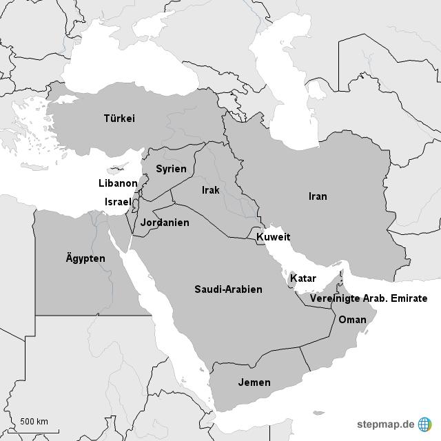 naher osten karte StepMap   Karte   Naher Osten   1   Landkarte für Welt naher osten karte