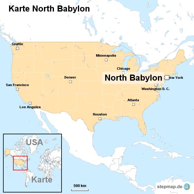Babylon Karte.Stepmap Karte North Babylon Landkarte Für Usa