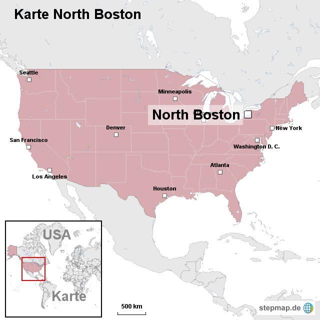 Stepmap Karte North Boston Landkarte Fur Usa