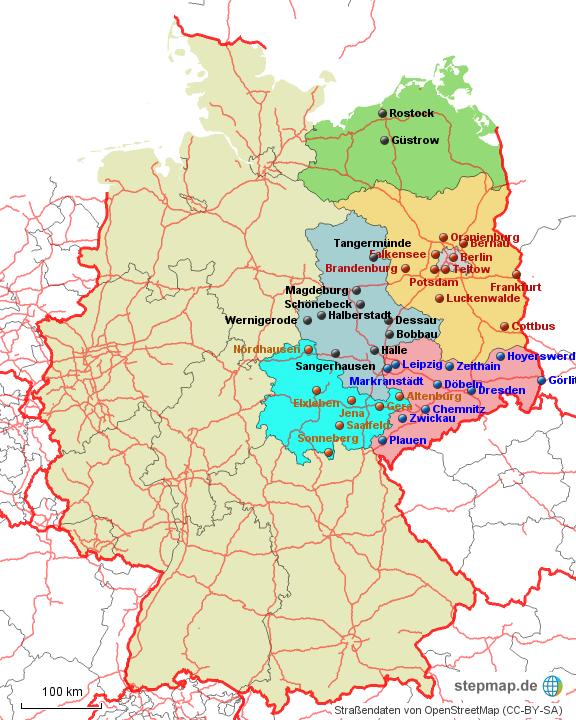 Stepmap Karte Ost Tour Möbel Boss Landkarte Für Deutschland