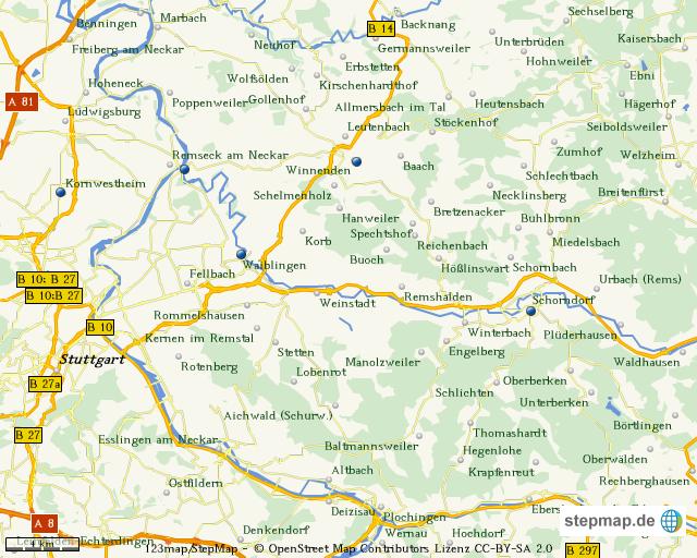 stepmap karte raum stuttgart landkarte f r deutschland. Black Bedroom Furniture Sets. Home Design Ideas