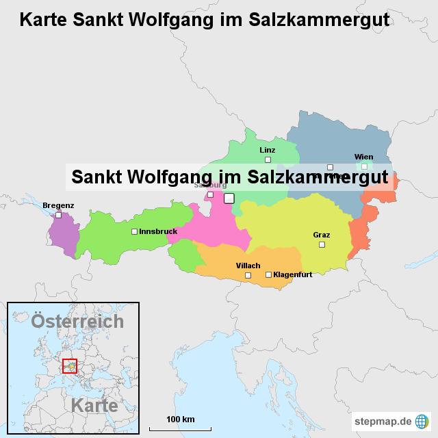 Salzkammergut Karte.Stepmap Karte Sankt Wolfgang Im Salzkammergut Landkarte