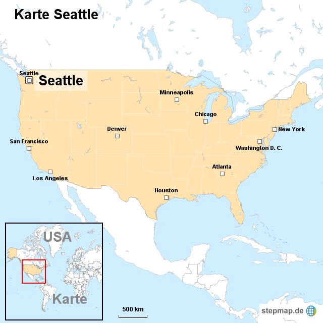 seattle karte StepMap   Karte Seattle   Landkarte für USA