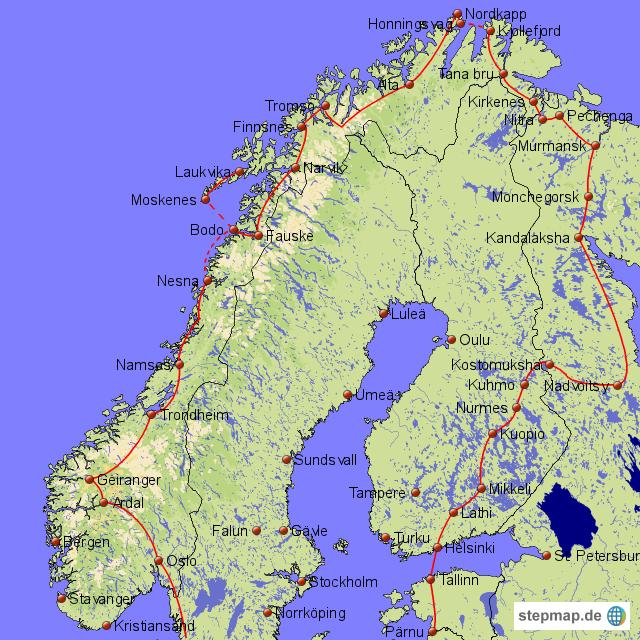Karte Skandinavien.Stepmap Karte Skandinavien Trip Landkarte Für Norwegen