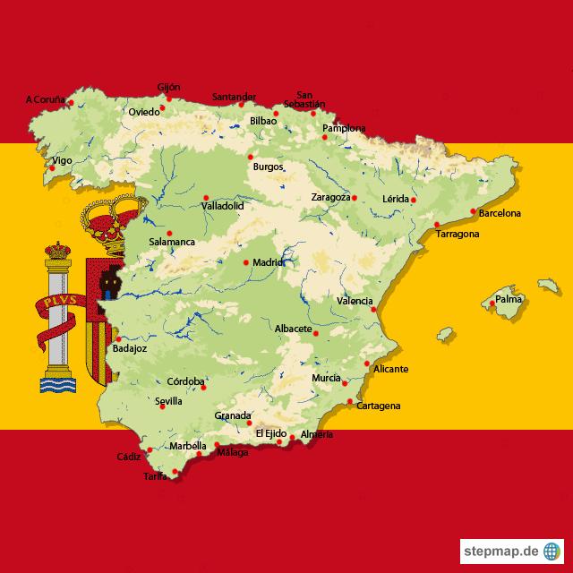 Spanische Karte.Stepmap Karte Spanien Landkarte Fur Spanien