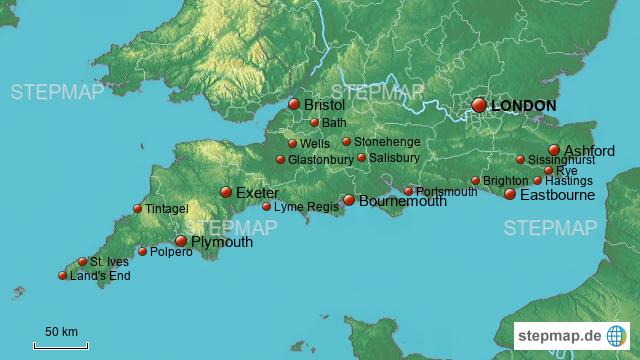 karte südengland StepMap   Karte Südengland   Landkarte für Deutschland