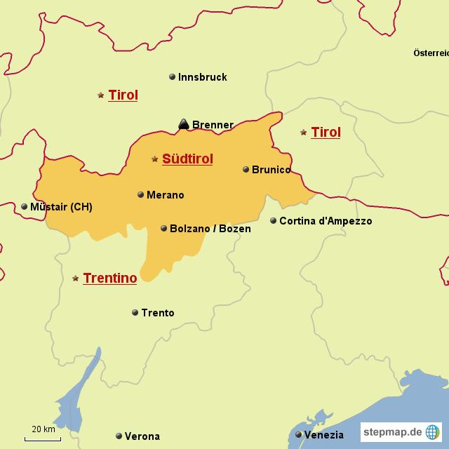 karte südtirol StepMap   Karte Südtirol   Landkarte für Deutschland
