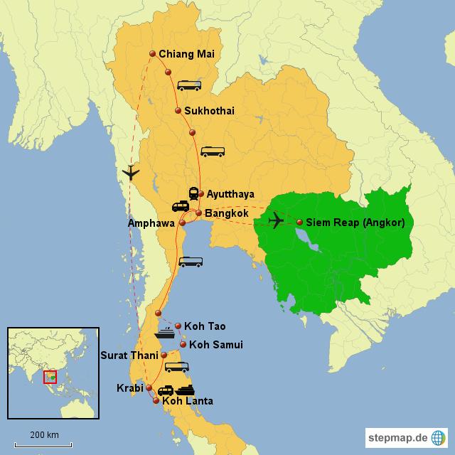 Karte Thailand Kambodscha.Stepmap Karte Thailand Kambodscha Landkarte Für Deutschland