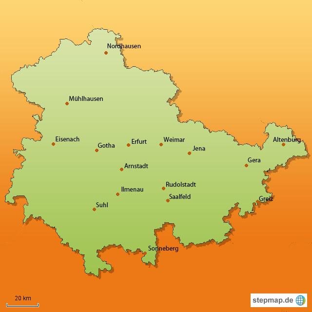 Karte Von Thuringen Bundesland Provinz In Deutschland Welt