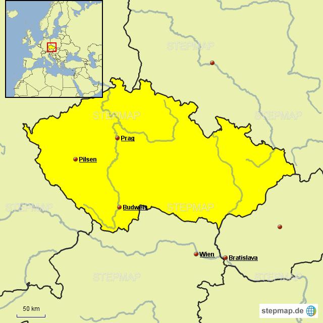 Karte Tschechien.Stepmap Karte Tschechien Landkarte Für Deutschland