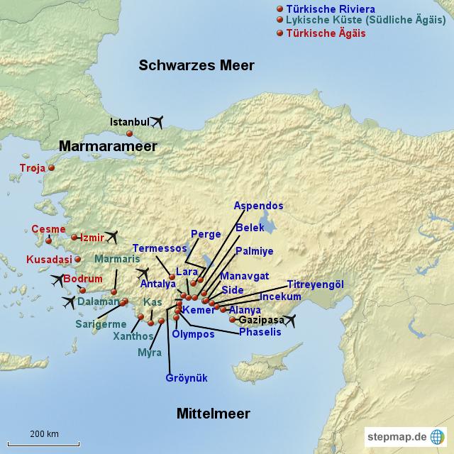 türkische ägäis karte StepMap   Karte Türkische Riviera und Ägäis   Landkarte für Türkei türkische ägäis karte
