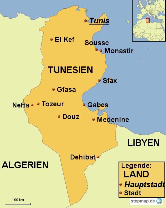 karte tunesien StepMap   Karte Tunesien 2   Landkarte für Afrika karte tunesien