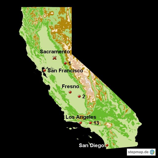 Kalifornien Karte.Stepmap Karte Us Staat Kalifornien Landkarte Für Usa