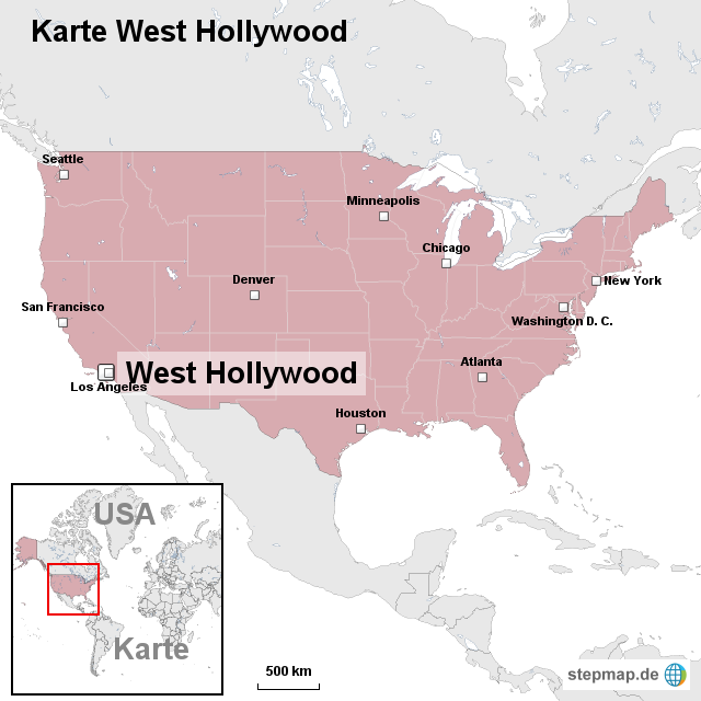 hollywood karte StepMap   Karte West Hollywood   Landkarte für USA
