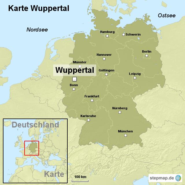 StepMap - Karte Wuppertal - Landkarte für Deutschland
