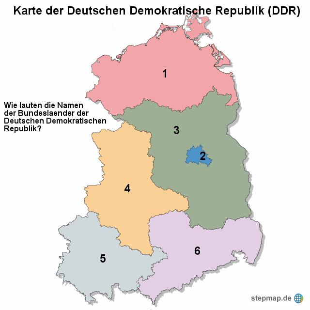 Karte Ostdeutschland.Stepmap Karte Der Deutschen Demokratische Republik Ddr