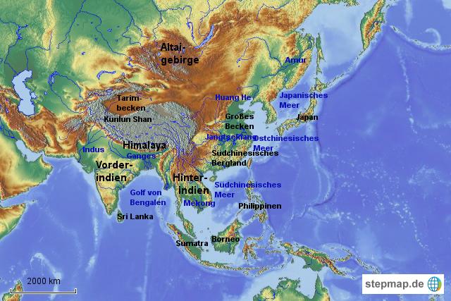 Südasien Karte.Stepmap Karte Im Kopf Von Ost Und Südasien Landkarte Für Asien