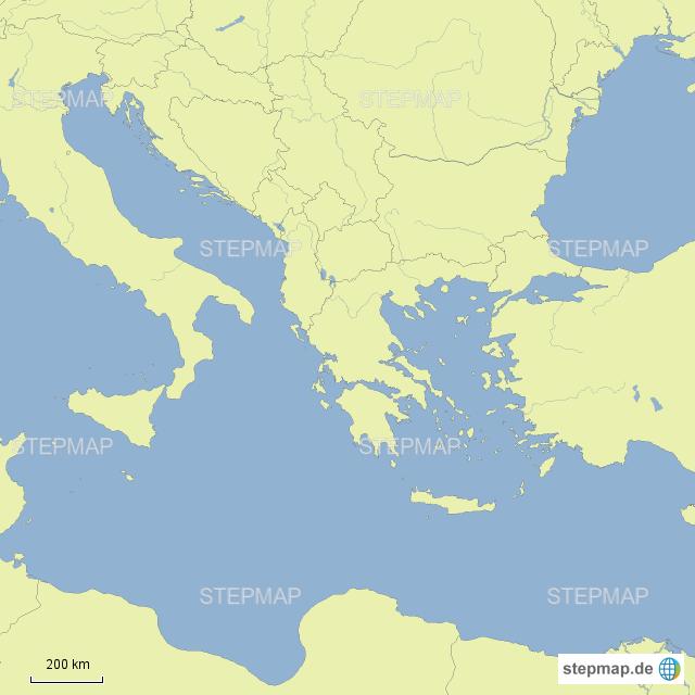 Mittelmeer Karte.Stepmap Karte Zum üben östliches Mittelmeer Landkarte Für