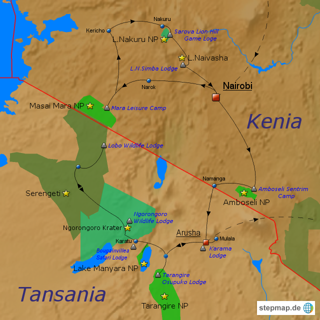 Kenia Karte.Stepmap Kenia Tansania Landkarte Für Kenia
