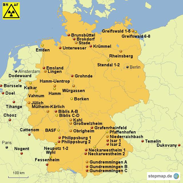 kernkraftwerke deutschland karte StepMap   Kernkraftwerke Deutschland   Landkarte für Deutschland kernkraftwerke deutschland karte