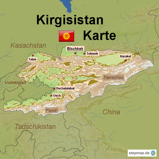 kirgisistan karte StepMap   Kirgisistan Karte   Landkarte für Kirgisistan