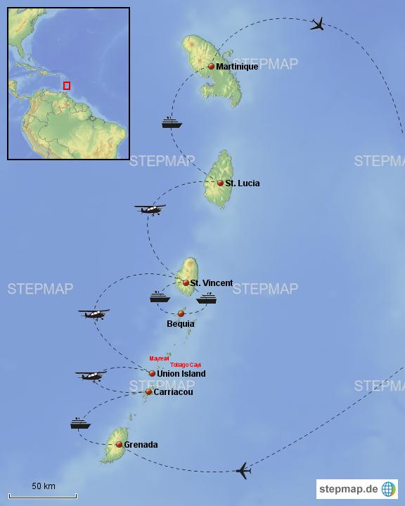 Karibik Karte Welt.Stepmap Kleine Antillen Karibik Neu Landkarte Für Welt