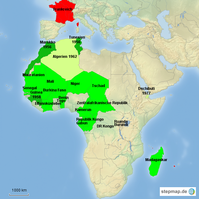 Karte Afrika Kolonien.Stepmap Kolonialzeit Frankreich Landkarte Fur Afrika