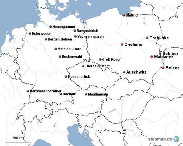 vernichtungslager karte StepMap   Konzentrations  und Vernichtungslager   Landkarte für