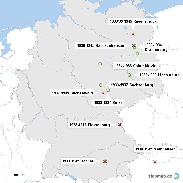 Stepmap Konzentrationslager 1933 1939 Landkarte Fur Deutschland