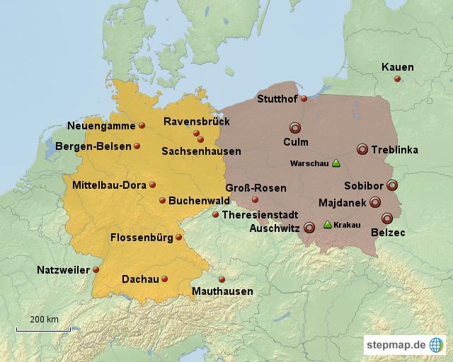 kz karte StepMap   Konzentrationslager im 3. Reich   Landkarte für Deutschland