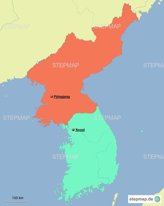 landkarte korea StepMap   Korea Karte   Landkarte für Nordkorea landkarte korea